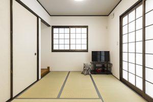 リビングの続きとしても使える和室。ゲストルームや独立したお部屋として使えます。